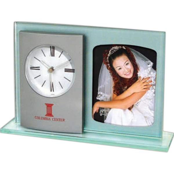 Michelle - Elegant Glass Clock With Silver Metallic Finish Panel Plus Photo Frame Photo