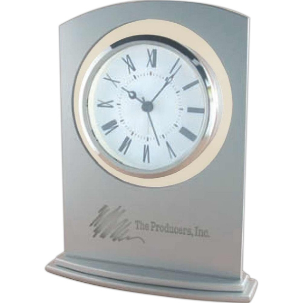 Glass Alarm Clock With Metallic Silver Painted Glass Panel And Silver Bezel Photo