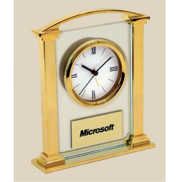 Simply Elegant - Elegant Gold Finish Alloy And Glass Alarm Clock Photo