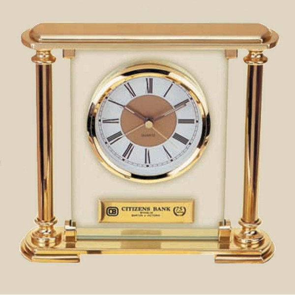 Showpiece Mantel Clock, Glass And Gold Finished Photo