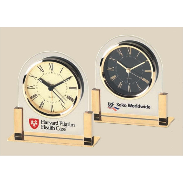 Acrylic And Gold Color Finish Classic Quartz Alarm Clock Set In Clear Acrylic Panel Photo