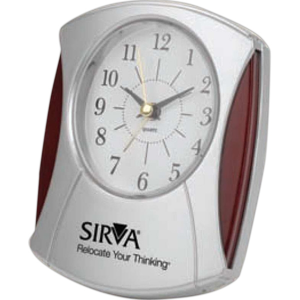 Wood And Silver Desk Alarm Clock With High Gloss Finish Wood Trim, Sweep Second Hand Photo
