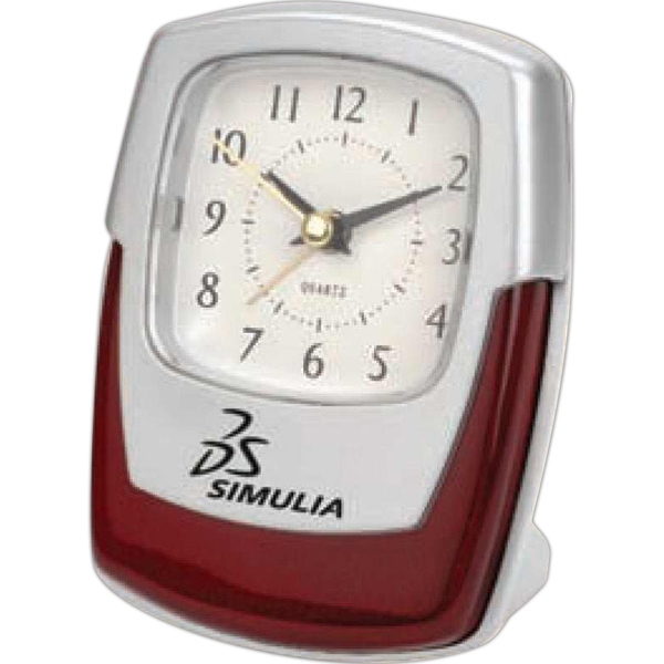 Wood And Silver Desk Alarm Clock With High Gloss Finish Wood Trim,sweep Second Hand Photo