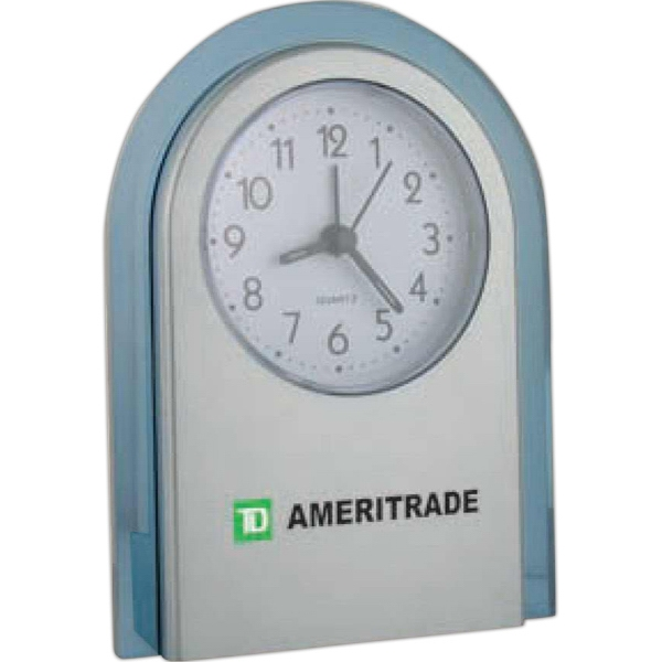 Round Top Alarm Clock With Brushed Silver Color Front, Translucent Blue Tint Trim Photo