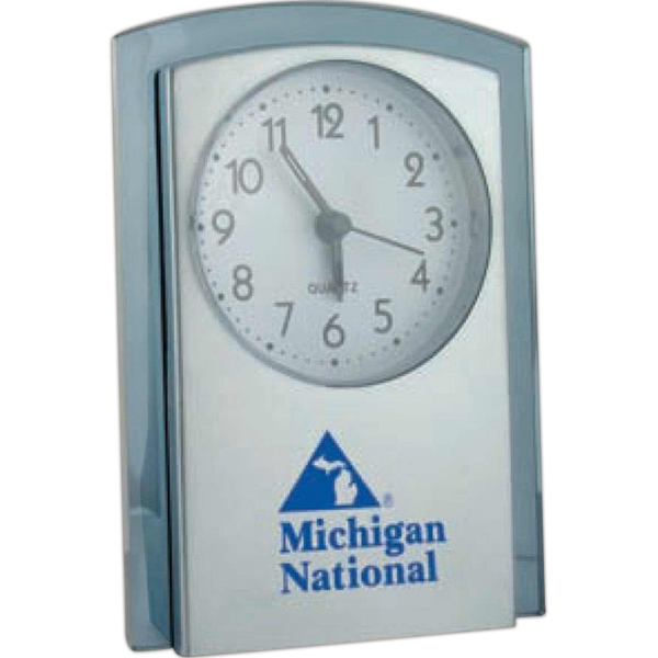 Arch Top Alarm Clock Features Brushed Silver Front With Translucent Blue Tint Trim Photo