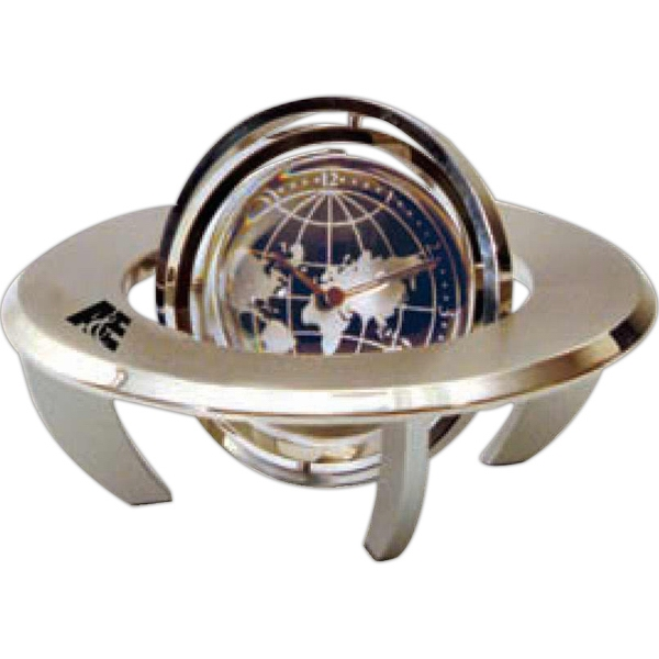 Orbital Spinning Gyro Globe Clock With A Place For Photo Or Insert On Other Side Photo