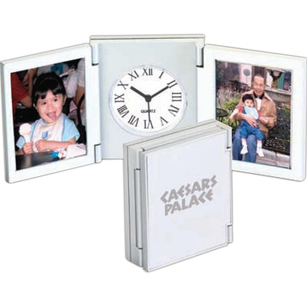 Tri-fold Desk Picture Alarm Clock, Compact Playing Card Size With 2 Picture Slots Photo