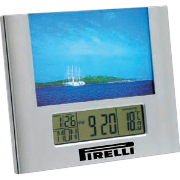 "Digital 1"" Lcd Display Clock, Perfect For Desk Or Nightstand. Holds 6"" X 4"" Photo Photo"