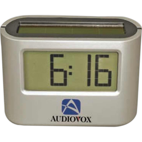 Solar Alarm Clock. Large Readout Display Shows Time, Date And Count Up Timer Photo