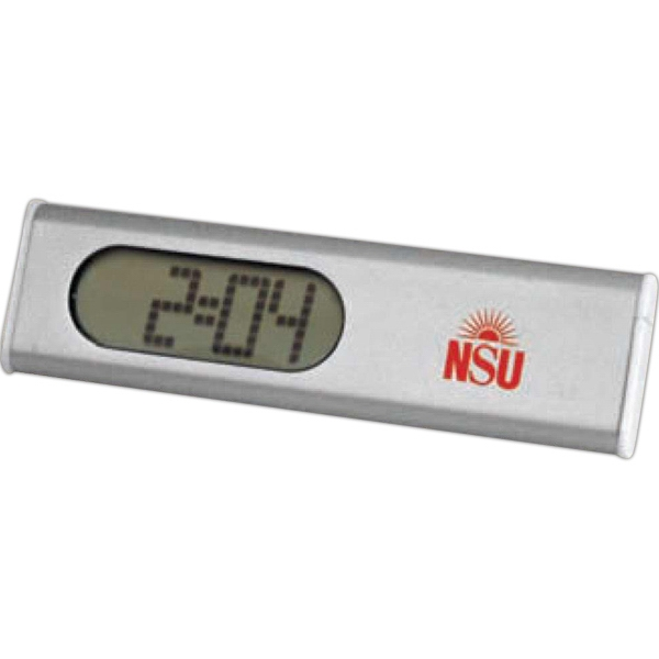 Slim & Trim - Digital Alarm Clock, Metal Foldout Stand On Back To Support The Clock Photo