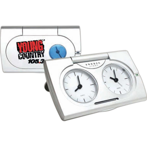 Live Action Dual Time Alarm Clock With Snooze Function And Dial-lighting Photo