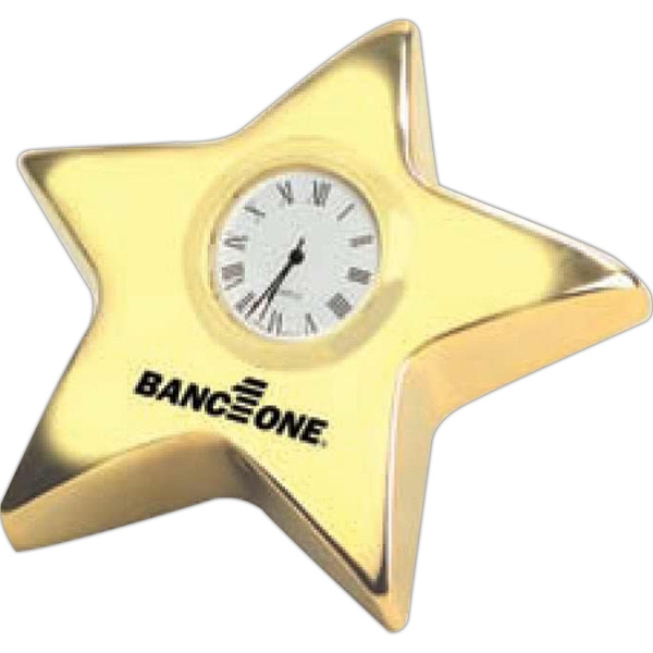 "Elegant 4"" Gold Star Clock With Roman Numerals And ""gold Leg"" For Standing Photo"