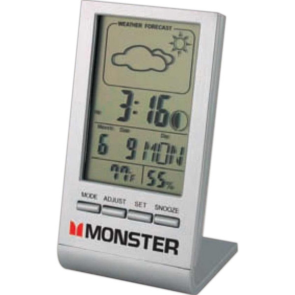 Weather Forecast Desk Clock, Sleek And Compact With Weather Station Photo