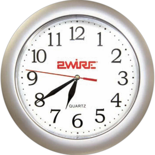 "Silver Analog Wall Clock, 10 3/8"" Photo"