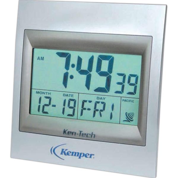 Atomic - Square Atomic Lcd Wall Clock, Radio Controlled Alarm, With Silver Finish Photo
