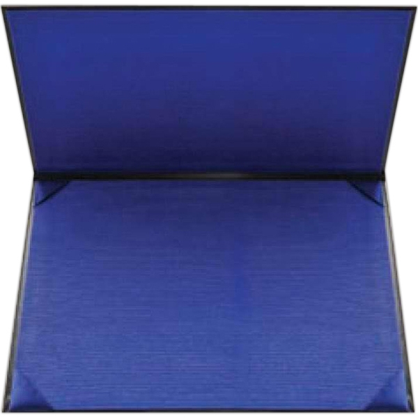 Double-padded Black Leatherette Certificate Holder With Navy Blue Fabric Lining Photo