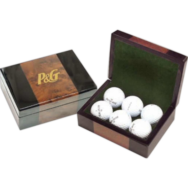 Burlwood Gift Box Holds Six Golf Balls Perfectly Or Other Essentials Photo