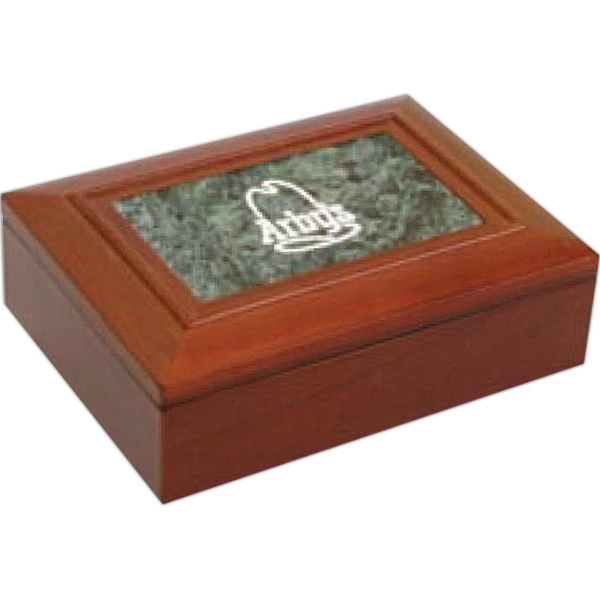 Walnut Finish Box With Green Marble Insert Makes A Splendid Desk Gift Photo