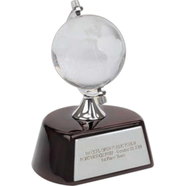 Optical Glass Globe Award Mounted On Top Of A Beautiful Wood Finish Base Photo