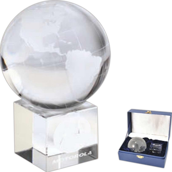 Optical - Optical Crystal Globe On Cube Shape Optical Crystal Base With Velvet Lined Gift Box Photo