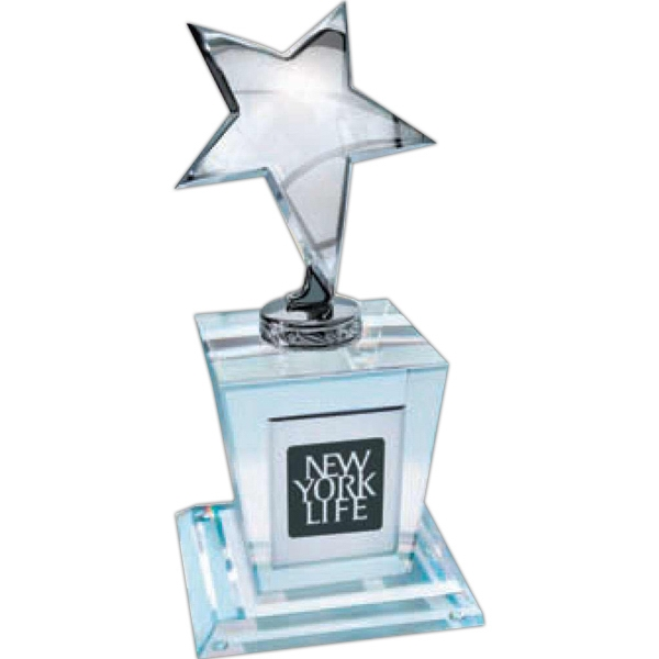 "Heavy, Elegant 4"" Silver Star Award On Crystal Faceted Base Photo"