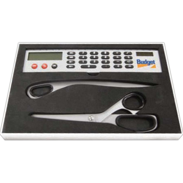 Three Piece Desk Gift Set With Scissors, Letter Opener, And Solar Calculator Ruler Photo