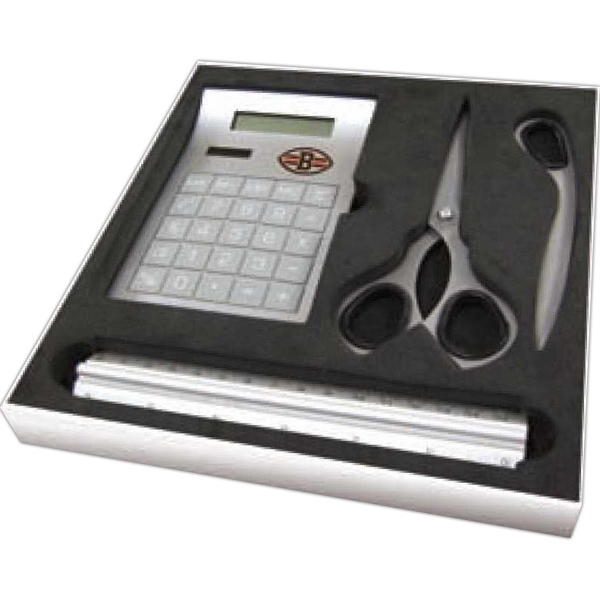 Four Piece Desk Gift Set With Scissors, Letter Opener, Solar Calculator And Ruler Photo