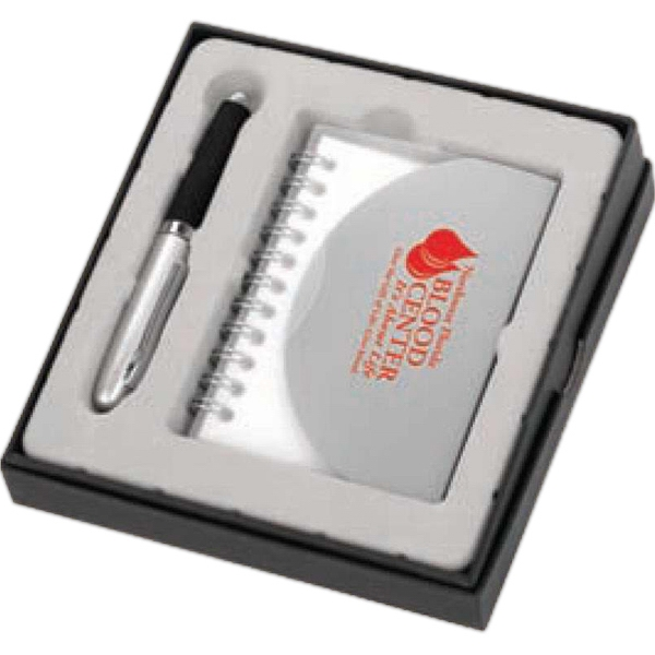 Two Piece Desk Gift Set With 70 Page Spiral Notebook And Pen Set Photo