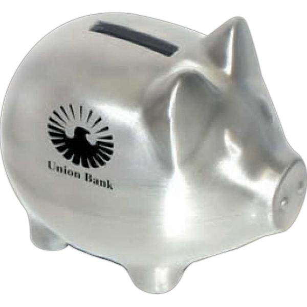 "Classic ""piggy""satin Pewter Finish Coin Bank. Coin Slot On Top, Bottom Plug Photo"