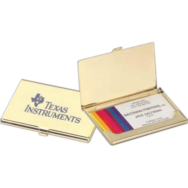 Brass Business Card Holder With Suede Pouch Photo
