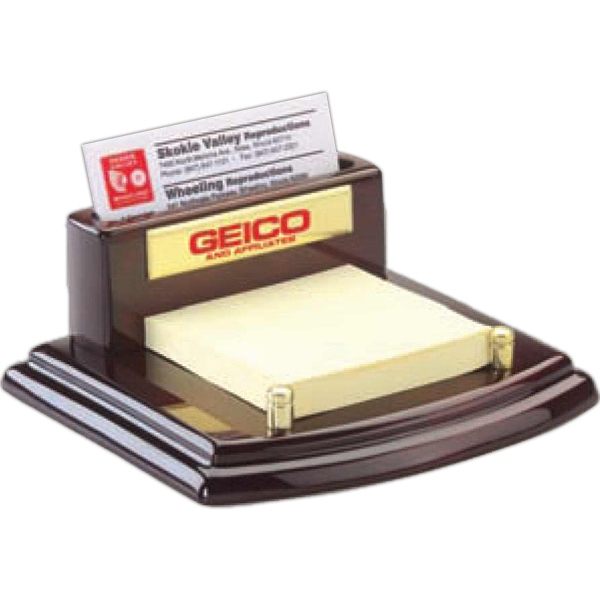 Wood Finish Business Card Holder With Note Pad Holder Photo