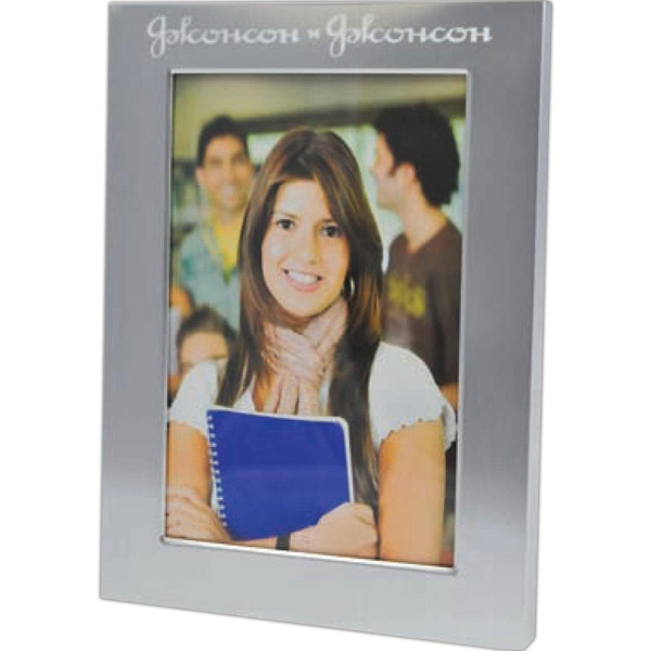 "Aluminum Picture Frame With Nice Velvet Backing. 4"" X 6"" Photo"
