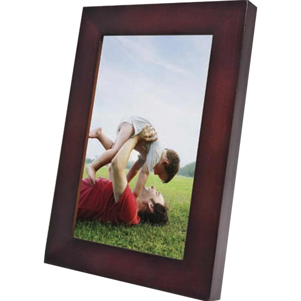 Wood Picture Frame In Matte Finish Walnut Color With Easel And Hooks On Back Photo