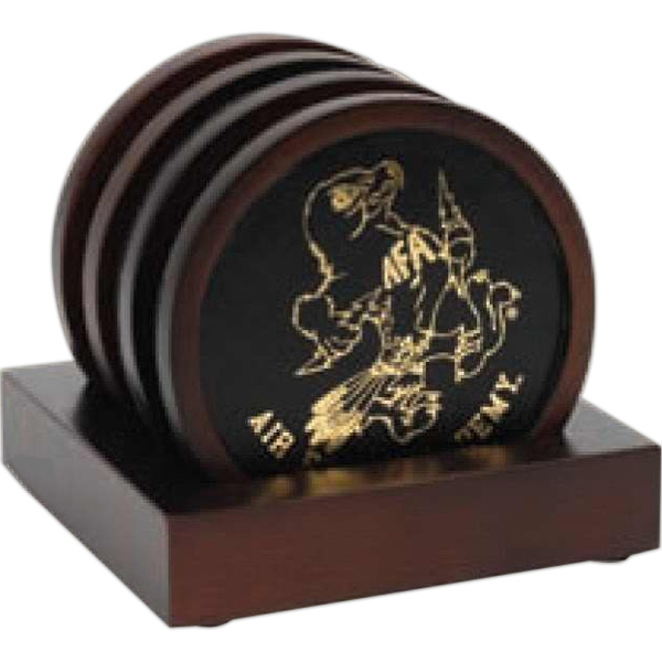 Oxford - 4-pc. Wooden Coaster Set Has A Timeless Look And Stand-up Base & Leatherette Insert Photo