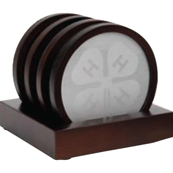 Oxford - 4 Piece Wooden Coaster Set With A Silver Plate Insert And Stand Up Base Photo