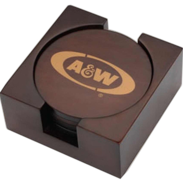Arbon - 4 Piece Wooden Coaster Set With A Timeless Look Comes With A Lay-flat Base Photo