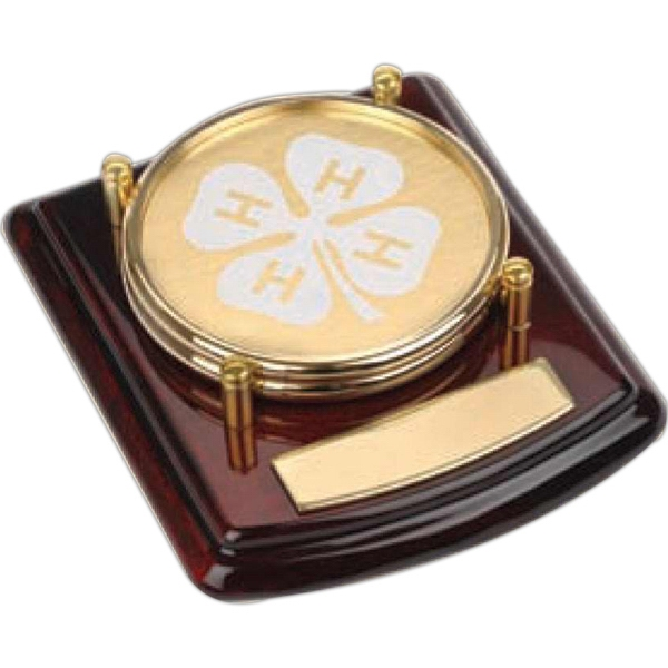 Carlisle - 2 Piece Gold Color Coaster Set On Handsome Wood Base. Includes Brass Plate Photo