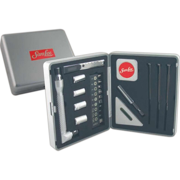 22 Piece Tool Kit Set In Durable Silver Case Photo