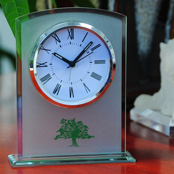 Glass Table Alarm Clock With Sandblast Finish Photo