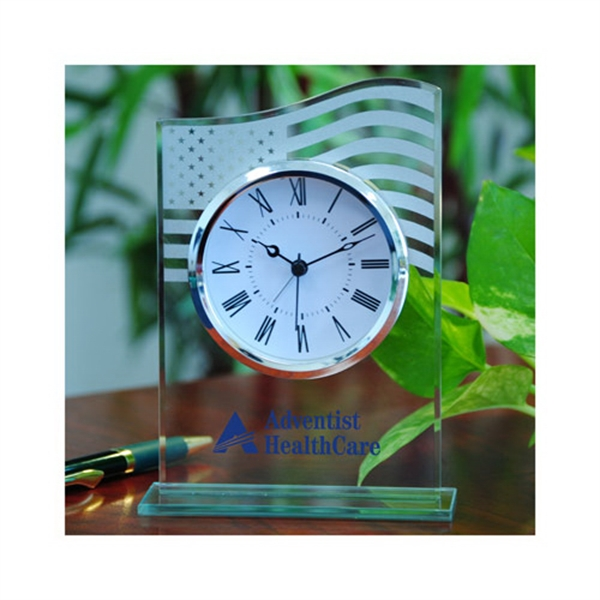Glass Table Alarm Clock With Us Flag Photo
