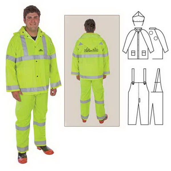 Pvc/polyester 3-piece Rainsuit With Reflective Stripes Photo
