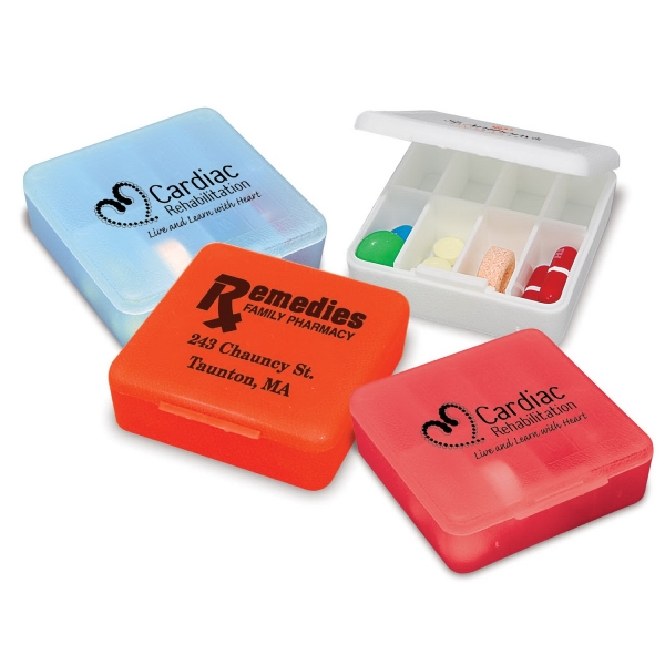 Compact Pill Box With Eight Small Compartments And Snap Tight Lid Photo