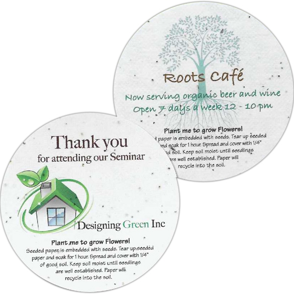 Sprout Tyme - Seeded Round Shape Paper Drink Coasters Photo