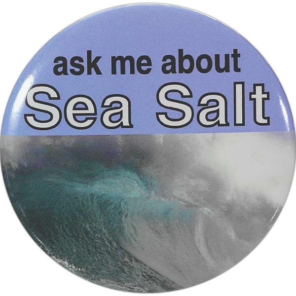 "3"" - Round Laminated Celluloid Button With Safety Pin Back Photo"