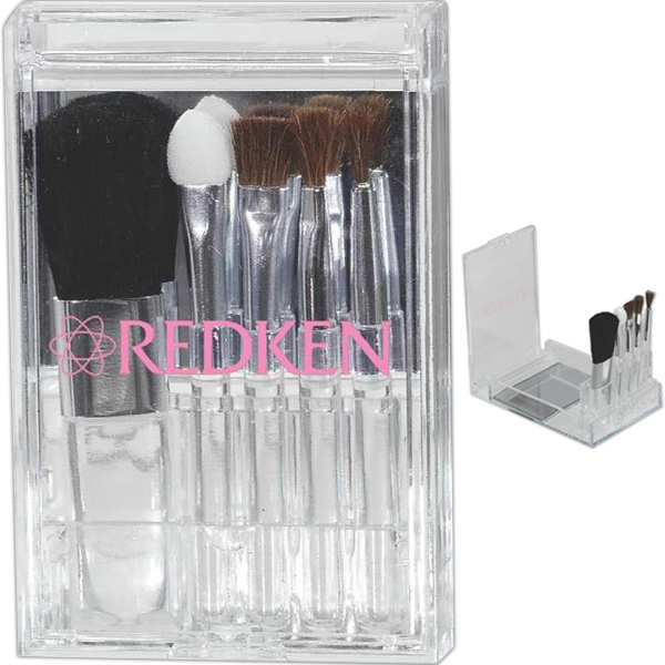 Flip Mirror Brush Set, 5 Piece Set In Stand Up Case With Mirror Photo