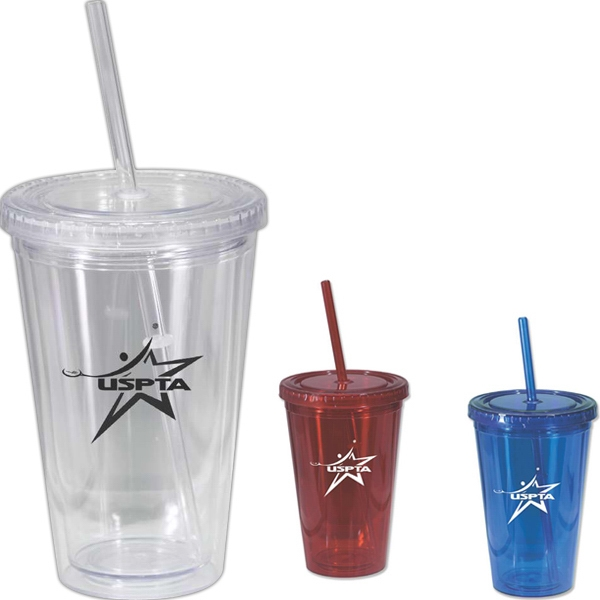 On The Go - 16 Oz. Double Wall Acrylic Tumbler With Matching Straw Photo