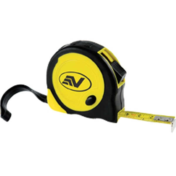 "Tape Measure With Black Rubber Grip, Metal Belt Clip And 3 1/2"" Strap Photo"