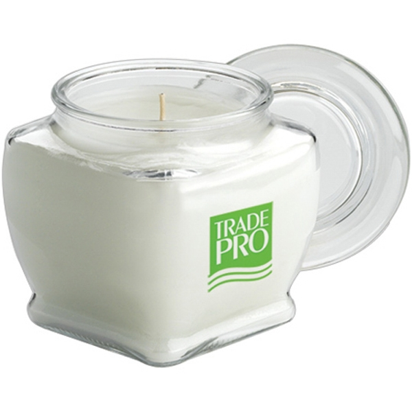 Sir James - 3 Day Rush Service - Aromatherapy Wax Candle In 10 Oz. Capacity Glass Footed Square Jar Photo