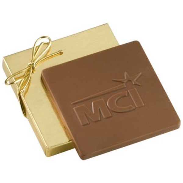 2 oz Custom Molded Chocolate Bar in Gold Gift Box