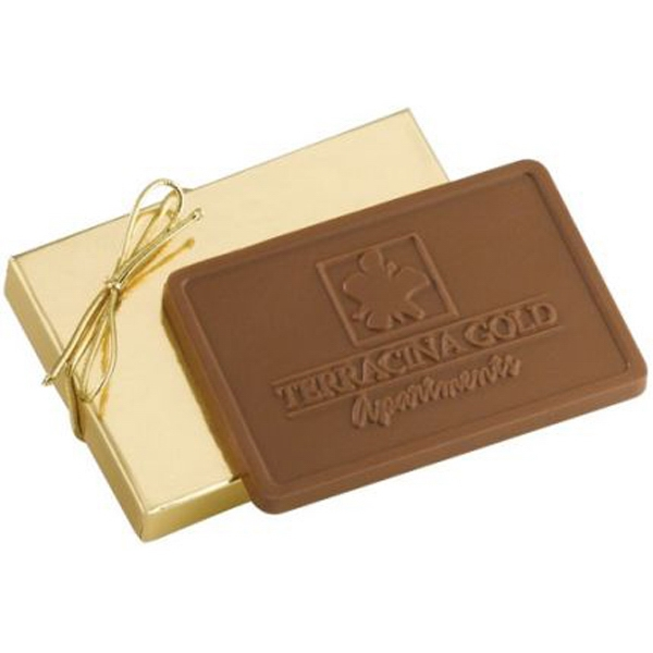 3 oz Custom Molded Chocolate Bar in Gold Gift Box